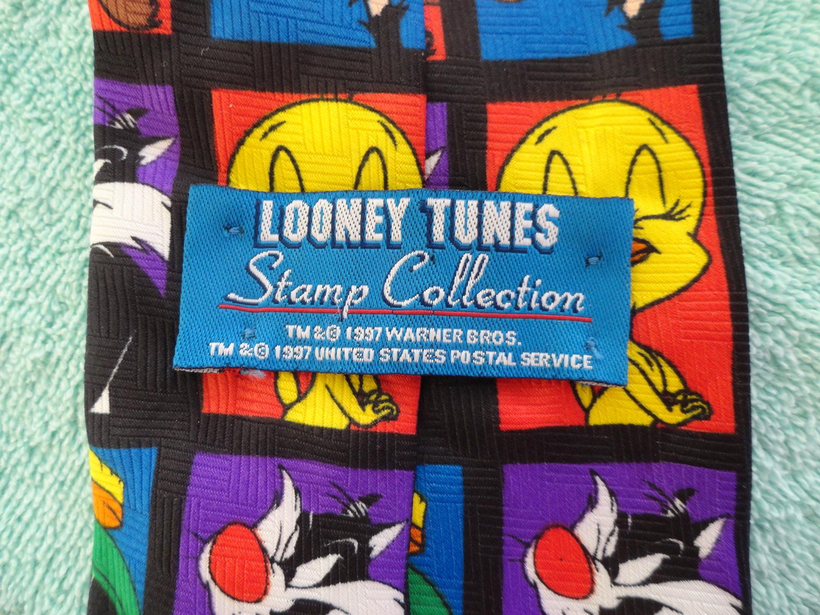 Mens Neck Tie Looney Tunes 1997 Stamp Collection Polyester Necktie Warner Bro