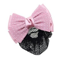 Womens Elegant Hairnet Hair Clip Snood Net Bow Barrette Hairdressing, R - $10.06