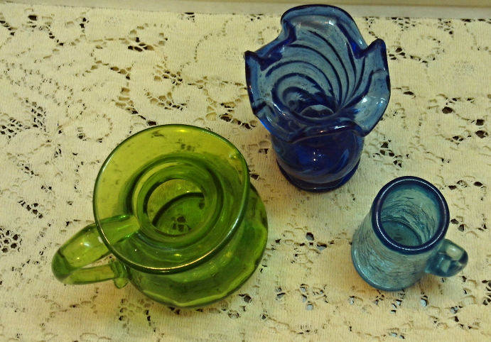 Vintage Assortment Mid Century Art Glass Vases // Crackle Glass // Blue Glass