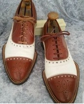 Handmade Men's Brown & White Two Tone Brogues Style Dress/Formal Leather Shoes image 2
