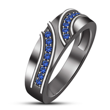 Womens Round Blue Sapphire Band Engagement Ring 14k Black Gold Plated 92... - $87.45