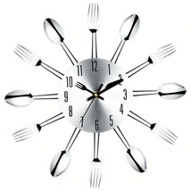 Wall Clock Kitchen Modern Large Stainless Steel Watch Spoon Fork Analog ... - $17.41