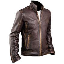 Mens Biker Vintage Dark Brown Rider Cafe Racer Real Biker Genuine Leather Jacket image 2