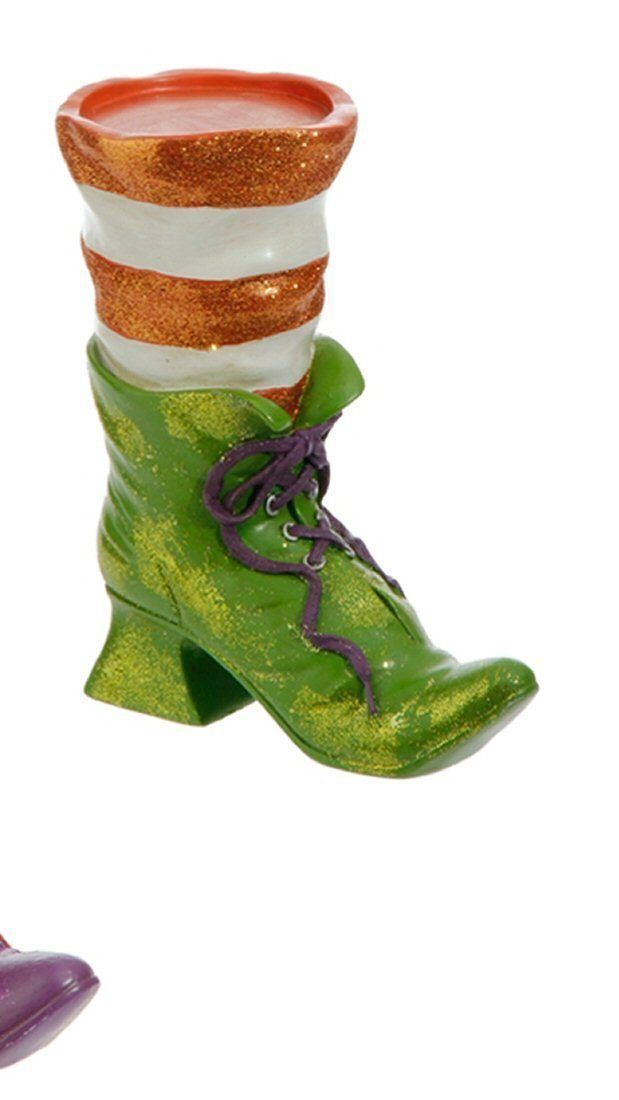 RAZ Halloween Witch Boot Candle Holder H3611106 Green Purple