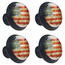 4 Pcs 35mm Vintage American Flag Cabinet Knobs Round Glass Drawer Handle... - $23.29