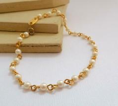 Vintage Avon White Faux Pearl Gold Tone Bead Chain Bracelet G50 - $11.89