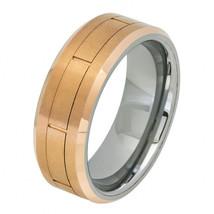 Tungsten Wedding Band Ring Rose Gold IP Brushed... - $36.99