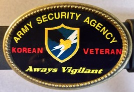 Kor EAN Veteran Army Security Agency Epoxy Belt Buckle - New - $16.78
