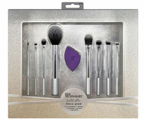 Real Techniques Limited Edition Silver Disco Glam Brush Set Sponge Brushes NEW - $31.76