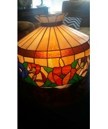 Vintage Tiffany Style STAINED GLASS HANGING PENDANT Light Fixture or LAM... - $123.75