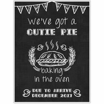 Bun in Oven Personalized Pregnancy Announcement Chalkboard Sign Photo Pr... - $15.35+