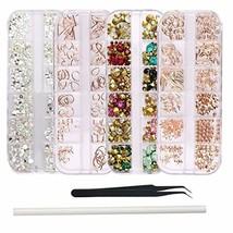 WOKOTO 4Pcs Nail Crystals And Rhinestones Rose Gold Metal Stud Nail Art ... - $15.92