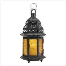 Gifts & Decor Yellow Glass Moroccan Lantern Candle Holder Light Decor - $20.69