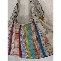 Fossil white leather patchwork quilt bag boho indie - $23.76