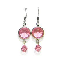 """Pink 1/2"""" Crystal Lozenge/6mm Crystal Bead 3/4"""" Sterling Silver Drop Earrings - $13.99"""