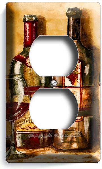 VINTAGE TUSCAN WINE BOTTLES COLLECTION LIGHT SWITCH OUTLET PLATES KITCHEN DECOR image 4