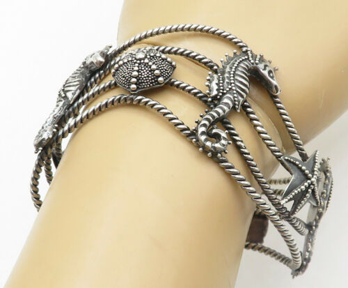 925 Silver - Vintage Sea Horse & Star Fish Wavy Twist Cuff Bracelet - B5028