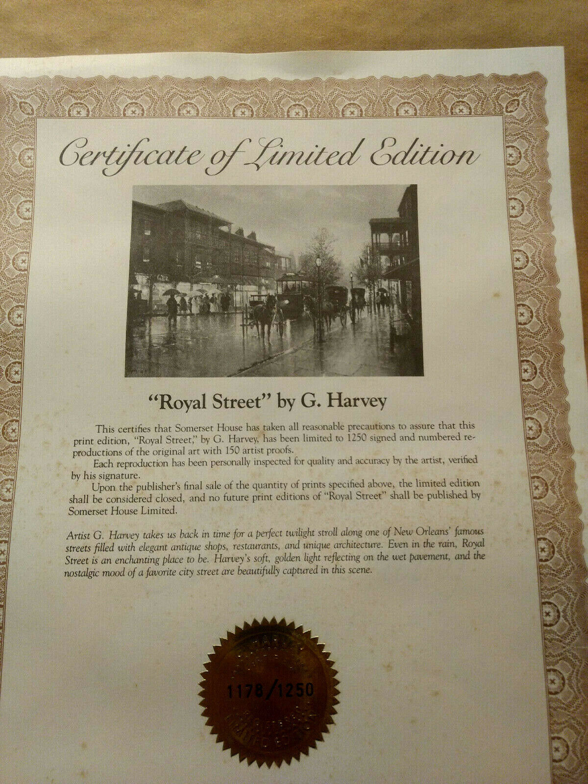 """Beautiful G Harvey Limited Edition Signed Print """"Royal Street"""" Matted Framed COA"""