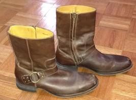 Cole Haan Brown Leather Biker Moto Boots Harness Side Zip Mens Size 9 C... - $69.99