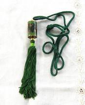 Green Chinese Cloisonne Enamel Necklace Cylinder Barrel Silk Cord Vintag... - $38.00