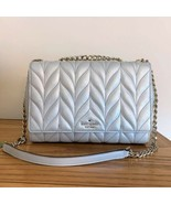 Kate Spade Emelyn Crossbody Light Metallic Silver Quilted Leather Briar ... - $149.95
