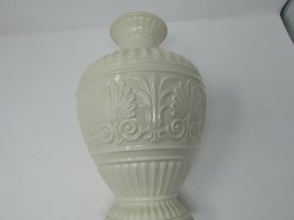 "LENOX ATHENA LARGE VASE  9-1/4"" STUNNING IVORY COLORED EMBOSSED GOLD RIMMED - $29.65"
