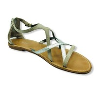Ann Taylor Loft Womens Flat Sandals Metallic Buckle Strap Back Zipper 7 M - $24.74