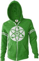 The Big Bang Theory Atom Logo Zippered Green Hoodie Size X-LARGE NEW UNWORN - $38.69