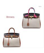 New 35cm Color Block Pebbled Italian Leather Birkin Style Satchel Handba... - $164.95