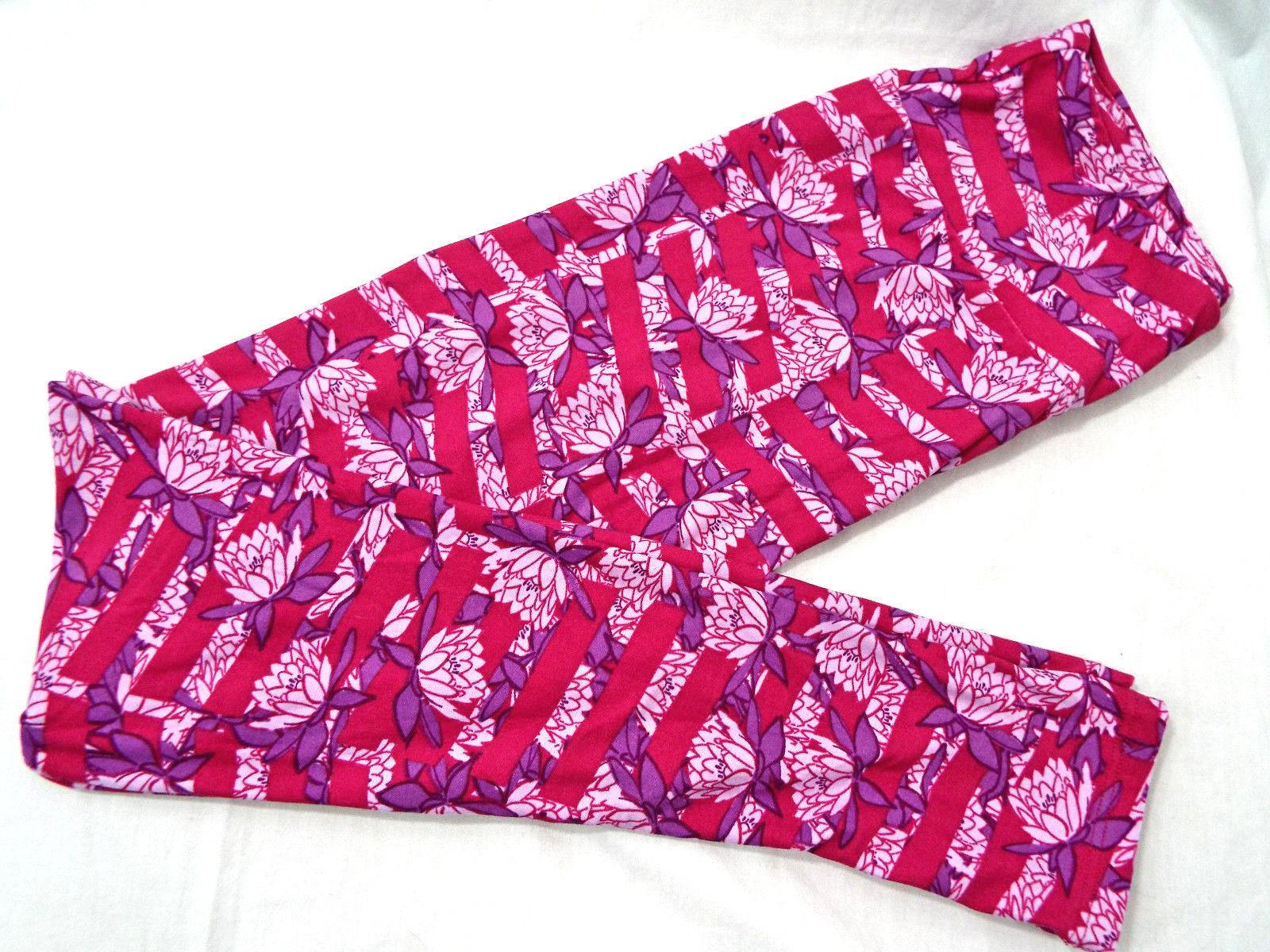 Donna Lularoe OS Taglia Unica Leggings Rosa Scuro Viola Lotus Nuovo