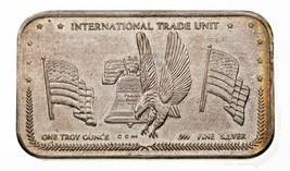 1981 INTERNATIONAL TRADE UNIT REV 3V By Crown Mint 1 oz. Silver Art Bar - $95.46