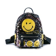 3D Emoji Glitter Sequined Backpack Women Fashion Printing Smile Cute Sma... - $39.99