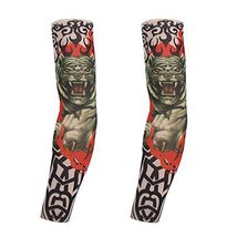PANDA SUPERSTORE 1-Pair Tiger Tattoo Sun Sleeves Body Art Fingerless Arm Stockin