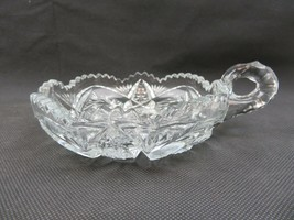 Art Glass deco heavy glass tray dish with handle - $24.00