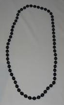 Vintage Black Satin Thread Beaded Necklace - $13.00