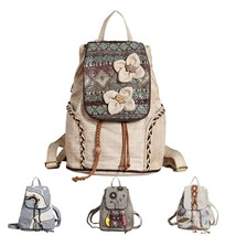Vintage Women Backpack Retro Flowers Canvas Weave Beads 2018 New Zipper ... - $44.99