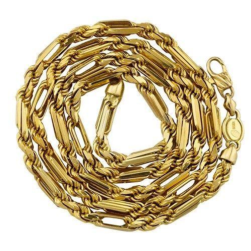 """4.4mm 14K Yellow Gold Men's / Women's Diamond-Cut Milano Rope Chain 20""""-26"""""""