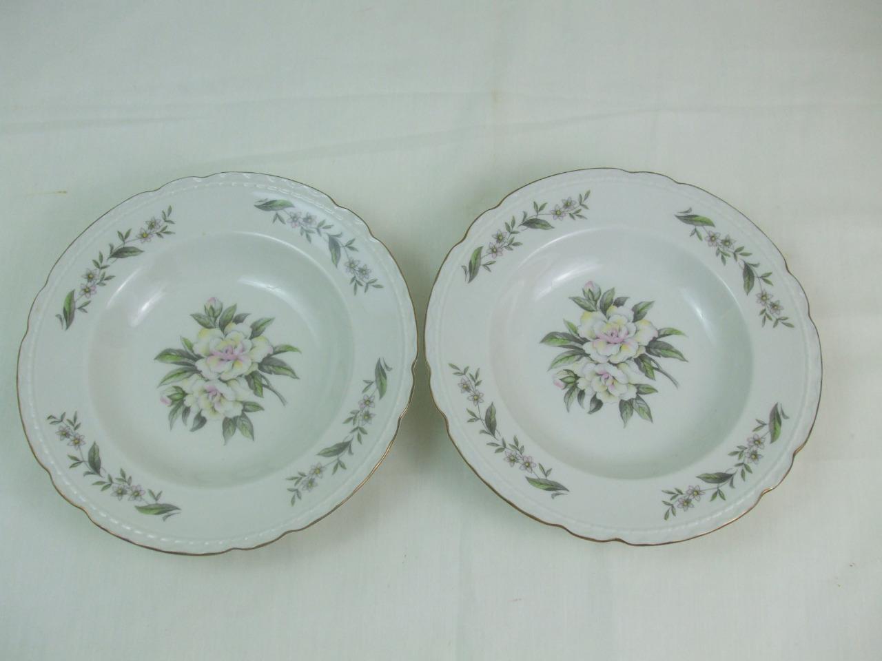 2 Soup Bowls Gardenia Pattern Gold Scalloped Edges Embassy USA Vitrified China - $19.79