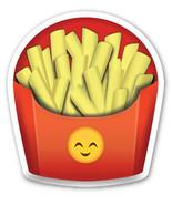 Fries Chips Emoji fully shaped vinyl sticker 100mm or 150mm junk iPad Fa... - $3.00+