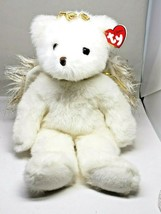 Ty Classic DIVINE Angel Bear Plush With Gold Sparkle Wings 2001 Beautifu... - $10.80