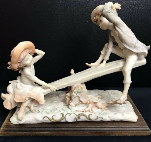 PUCCI Vintage Italian Capodimonte Porcelain See Saw Playing Children Victorian x