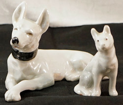 Dog & Puppy figurines German Shepard White Porcelain Luster-ware Made in... - $19.99