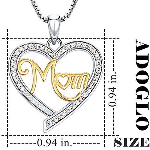 "23mm Mother's Day Gift ""MOM"" Heart Pendant Necklace Widex24mm Height Nickel Safe"