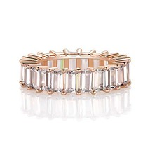 OPALBEST Rose Gold Plated Cubic Zirconia Ring Wedding Band for Women Men 8 - $16.49