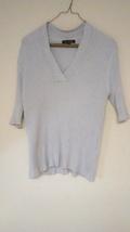 George XL Ribbed Knit Grey Short Sleeve V-Neck Top - $6.25