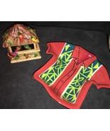 Clay Art Ceramic Tiki Hut Bar Salt & Pepper Shakers + T-shirt Dip Canapé... - $13.37