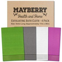 Extra Long 36 Inches Exfoliating Bath Cloth/Towel 4 Pack Gray, White, Green, and - $33.73