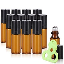 Olilia 5ml Amber Glass Essential Oils Roller Bottles with Stainless Stee... - $8.93