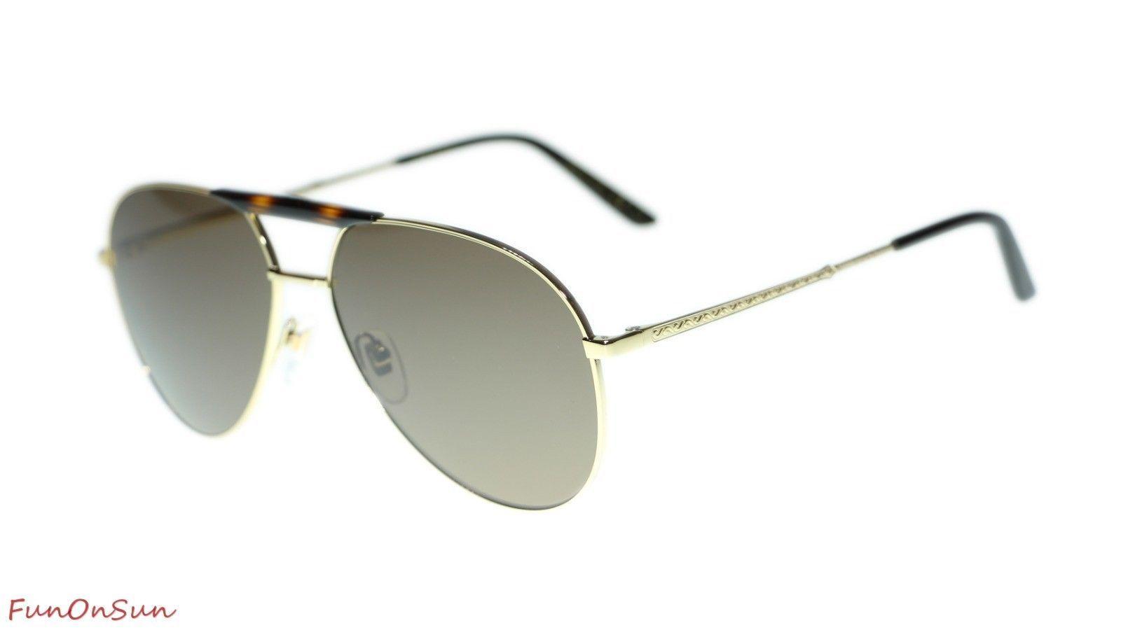 91866d6cf10e7 10. 10. Previous. Gucci Men Sunglasses GG0242S 002 Gold Brown Lens Aviator  59mm Authentic. Gucci ...