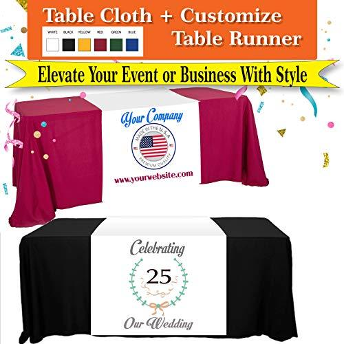 Tremendous Designs 6FT Table Cloth + Table Runner Included Customize with Your L